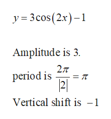 y 3cos (2x) -1 Amplitude is 3. 27T period is Vertical shift is -1