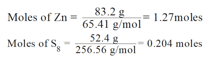 83.2 g Moles of Zn 65.41 g/mol 1.27moles 52.4 g Moles of S 256.56 g/mol 0.204 moles