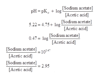 [Sodium acetate] pH 3 pК, + 1og [Acetic acid] 5.22 4.75log [Sodium acetate] [Acetic aci d] 0.47= log Sodium acetate] [Acetic acid] [Sodium acetate]=10047 [Acetic acid] [Sodium acetate]_2 95 [Acetic acid]