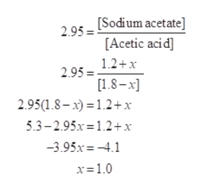 295 Sodium acetate] [Acetic acid] 1.2+x 2.95 = [1.8-x 2.95(1.8-x)12+ x 5.3-2.95x 1.2+x 3.95x-4.1 x-1.0