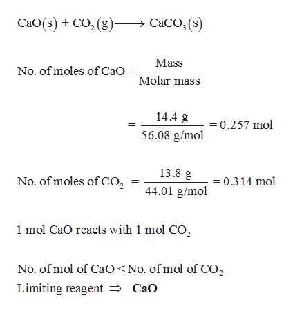 CaO(s)+ Co, (g) CaCO, (s) Mass No. of moles of CaO Molar mass 14.4 g = 0.257 mol 56.08 g/mol 13.8 g No. of moles of CO2 0.314 mol 44.01 g/mol 1 mol CaO reacts with 1 mol CO2 No. of mol of CaO <No. ofmol of CO2 Limiting reagent => CaO