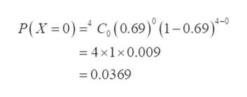 P(x 0)C,(0.69)(1-0.69)* -4x1x0.009 0.0369