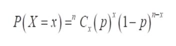 P(X=x)'C,(p)' (1-p)
