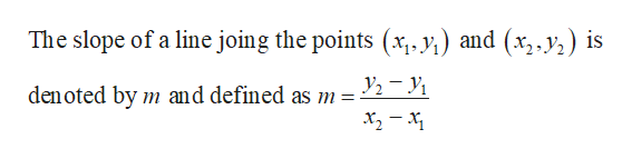 The slope of a line joing the points (x, y) and (x,y) is den oted by m and defined as m =-