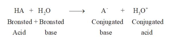 + Н.о HA H,0O А Bronsted + Bronsted Conjugated Conjugated Acid base base acid