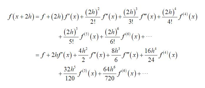 """(2h)(x) (2h) 2 (2h) -S"""" (х)+ 2! f(x+2h)- f+(2h)f (x)+ (2h) f(x)+ 3! 4! (2h) f(x)+ 6! (x)+ + 5! 16h f(x) 24 8h3 4h2 f""""(x ) )+ f""""(x) =f+2hf(x + 6 2 64hx)+ 32h f(x)+ 720 + 120"""