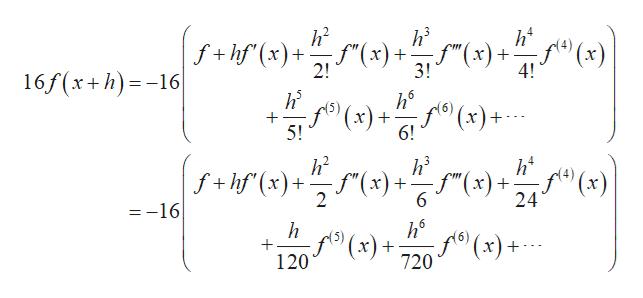 """h2 f+hf(x) 2! h's h2 4 f""""(x)+ -f""""(x)+ 3! 4! 16f(x+h)16 5 6 x)+ 5! 6! h2 h's ht f""""(x)+ 24 f+hf (x)+x)+f""""(x) 2 6 =-16 h6 f(x)+ 720 5 120"""