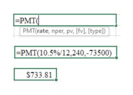 |=PMT PMT(rate, nper, pv, [fv], [type]) | -PMT(10.5%/12,240,-73500) $733.81