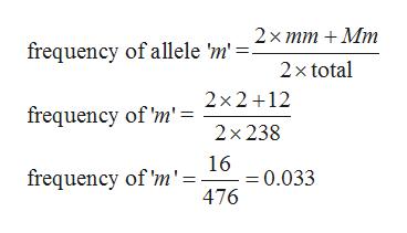 2х тm + Mmт frequency of allele 'm'. 2x total 2x2 12 frequency of 'm' = 2х 238 16 = 0.033 476 frequency of 'm'=
