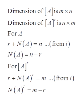 Dimension of [A]is mxn Dimension of [A] is nxm For A r+N(A) n.from i) N(A) n-r For [A] r+N(Am.from i) N(A = m -r