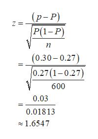 (р-Р)  P(1-Р) Z = п (0.30-0.27) 0.27(1-0.27) 600 0.03 0.01813 1.6547