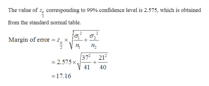 The value of za corresponding to 99% confidence level is 2.575, which is obtained from the standard normal table. σ' Margin of error = zx п п, 372 212 =2.575x, 41 40 =17.16