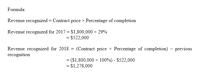 Formula Revenue recognized Contract price x Percentage of completion Revenue recognized for 2017 $1,800,000 x 29% S522,000 Revenue recognized for 2018 recognition (Contract price Percentage of completion) previous ($1,800,000 x 100%) - $522,000 = $1,278,000