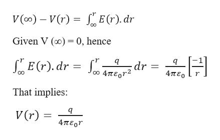 E(r). dr V (co) V(r) Given V () 0, hence E(r). dr dr = 4περ 0 4περr2 That implies: V (r) 4περ