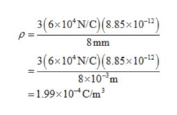 3(6x10 N/C)(8.85x10-12) P= 8mm 3(6x10 N/C) (8.85x1012 8x10-3m 1.99x10 C/m3
