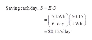 Saving each day, S = E.G 5 kWhS0.15 6 day kWh S0.125/day