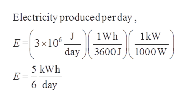 Electricity producedper day 1 Wh 1kW J E3x106 day 3600J 1000 Ww 5 kWh E = 6 day