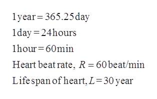 1year 365.25 day 1day24hours 1hour 60min Heart beat rate, R = 60beat/min Life span of heart, L 30 year