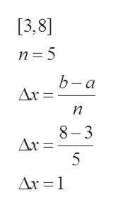 [3,8] n 5 b-a Ax n 8-3 Ar= 5 Ax 1