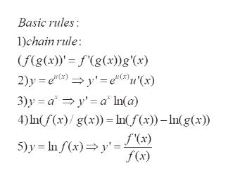 Basic rules 1)chain rule (f(g(x) fg(x))g'(x) 2)y e y'eu'(x) 3)y ay'a In(a) 4) nf(x)/ g(x))In(f(x))-In(g(x) f'(x) 5)y nf (x)y' f(x)