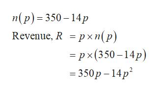 п(р) - 350-14р Revenue, R =pxn(p) 3Dрx(350-14р) — 350р - 14р?