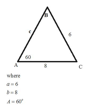 В с 6 60 А C where a 6 b 8 A = 60°