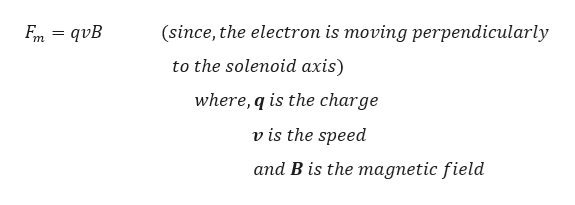 (since, the electron is moving perpendicularly En = qvB to the solenoid axis) where, q is the charge v is the speed and B is the magnetic field