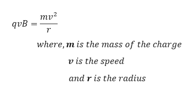 mv2 qvB r where, m is the mass of the charge v is the speed and r is the radius