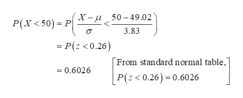 """P(X<50) = PX= i_50-49.02 3.83 = P(z <0.26) From standard normal table,"""" =0.6026 P(z< 0.26) 0.6026"""