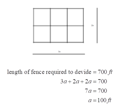 3a length of fence required to devide 700 ft 3a 2a 2a 700 7a 700 a 100 ft