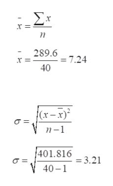 r- Σε x = n 289.67.24 40 n-1 401.8163.21 40