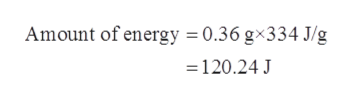 Amount of energy = 0.36 gx334 J/g = 120.24 J