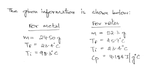 Thireu intormation is chown below: For neter FOr Metal m= 24S0 TF aa4c Te= as7c &34°C Ti83C t14