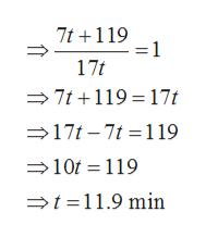 7t119 =1 17t 7t119 17t 17t-7t 119 10t 119 t11.9 min