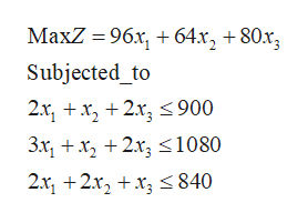 MaxZ 96x,64x, +80x3 Subjected_to 2.r, +x, +2.r, <900 3r1 +x 2r3 <1080 211 2x2x840