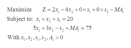 Z 2x-4x0xs +0x s-MA Maximize Subject to: xx2 +S = 20 5x3x,-+MA, = 75 Withxx2, 4 > 0