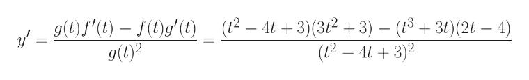 gf()-()g' (t) _ (2- 4t +3)(32+3)- (83) (2t-4) (t2- 4t3(3t2+3) - (t3t)(2t - 4) (t2 - 4t 3) y g(t)2 _