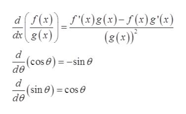 f(x) (x)8(x)-5 (x)g°(x) dg(x) (s(x)* d (cose)-sin e de d (sin 0) = cos e de
