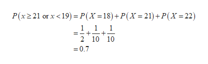 P(x221 or x <19)P(X =18)+P(X 21)+P(X=22) 11 1 2 10 10 =0.7