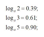 log 2 0.39 log 3 0.61; loga5 0.90;
