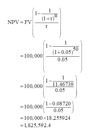 1 11 1- (1+r) NPV FV 1 (1+0.05)0 0.05 -100, 000 1 1- 11.46739 0.05 -100, 000 =100,0001-0.08 720 0.05 100,000x18.255924 1,825,592.4