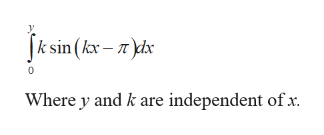 Jk sin (kx-x Where y and k are independent of x