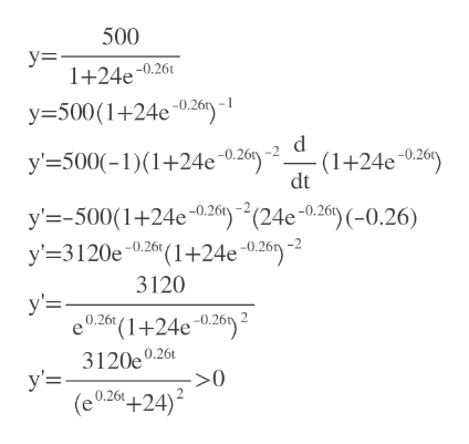 500 у-. 1+24e0.26 y500(1+24e0.26) -0.26) -2 (1+24e0.26) dt y' 500(-1)+24e y'500(1+24c26) (24e 0.26)(-0.26) y' 3120e0.26(1+24e ~0.26) -2 3120 у'3 0.26(1+24e 0.26) 3120e0.26 у-. (e026+24) >0