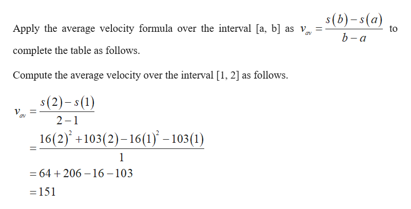 s(b)-s(a) Apply the average velocity formula over the interval [a, b] as v to b - a complete the table as follows. Compute the average velocity over the interval [1, 2] as follows. s(2)-s(1) 2 1 16(2) +103(2)-16(1 -103 (1) 1 = 64 206-16 -103 - 151