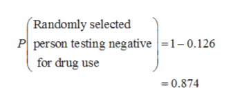 Randomly selected P person testing negative1-0.126 for drug use 0.874