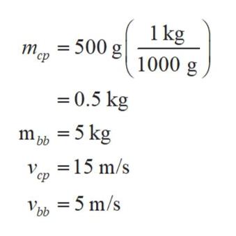 1 kg 1000 g m500 g 0.5 kg m 5 kg =15 m/s bb -5 m/s Vbb