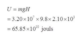 U = mgH 3.20x 10 x9.8x 2.10 x103 = 65.85 x1010 jouls