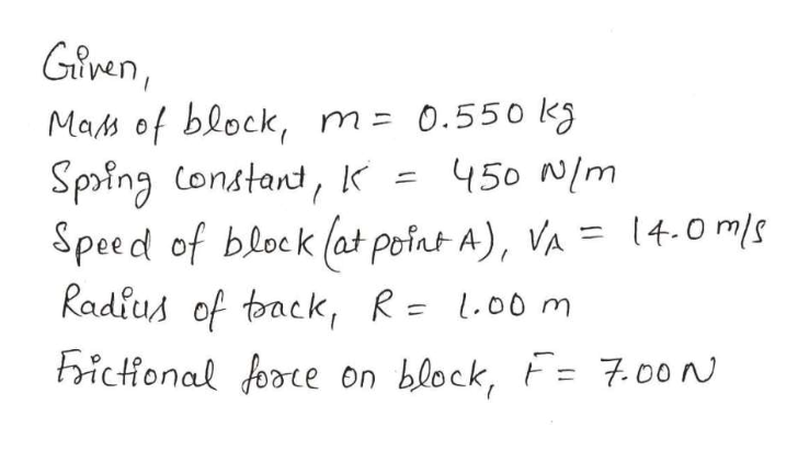Glven Mas of block, m= 0.55o k 450 N/m Spoing Constand, K Speed of block (at point A), VA =4.0 m/s Radius of toack, R= L.00 m ictonal foote on block, =7.00 N