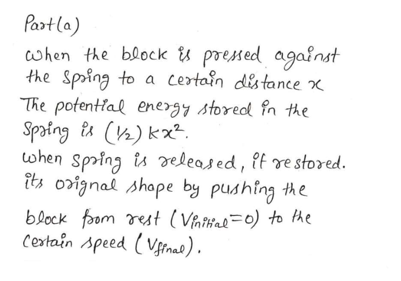 Partla) when the block A preMed agafnst the Spoing to The potential energy storedl fn the Spaing ts (h) k ohen Spring is deleased, if re stored. its orignal shape by pushing the certain distance block foom rest (Vaihae=0) to Ae Cextain Apeed (Vfinal)