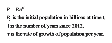 Pis the initial population in billions at time t tis the number of years since 2012, r is the rate of growth of population per year.